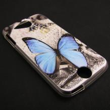 Силиконов калъф / гръб / TPU за Acer Liquid Jade - сив / синя пеперуда