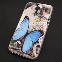 Силиконов калъф / гръб / TPU за Lenovo P90 - сив / синя пеперуда