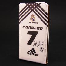 Кожен калъф Flip тефтер Flexi за Lenovo A369 - бяло и черно / Ronaldo 7 / Adidas