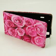 Кожен калъф Flip тефтер Flexi за Lenovo A369 - розов / рози