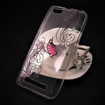 Луксозен силиконов калъф / гръб / TPU с камъни за Lenovo Vibe C / A2020 - прозрачен / розова пеперуда