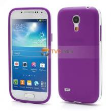 Силиконов калъф / гръб / ТПУ за Samsung Galaxy S4 mini i9190 / i9192 / i9195 - лилав с бял кант