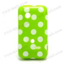 Силиконов калъф / гръб / ТПУ за Sony Xperia Tipo St21i - зелен на бели точки