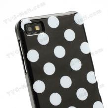 Силиконов калъф / гръб / ТПУ за BlackBerry Z10 - черен на бели точки