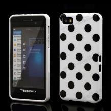 Силиконов калъф / гръб / ТПУ за BlackBerry Z10 - бял на черни точки