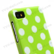 Силиконов калъф / гръб / ТПУ за BlackBerry Z10 - зелен на бели точки