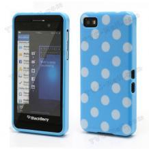 Силиконов калъф / гръб / ТПУ за BlackBerry Z10 - син на бели точки