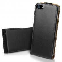 Кожен калъф Flip тефтер за Apple iPhone 5 / iPhone 5S / iPhone SE - Черен