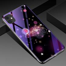 """Луксозен стъклен твърд гръб със силиконов кант за Apple iPhone 11 6.1"""" - цветя и кръгове"""