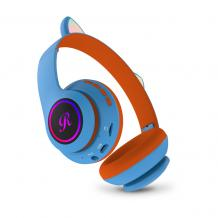 Стерео LED слушалки Bluetooth Cat Ear CT-66 / Wireless Headphones / безжични LED слушалки Cat Ear CT-66 - сини