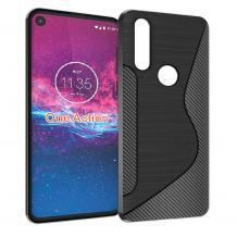 Луксозен силиконов калъф / гръб / TPU S - Line за Motorola One Action - черен / Carbon