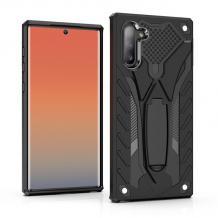 Силиконов гръб TPU Hybrid с твърда част и стойка за Samsung Galaxy Note 10 N970 - черен