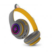 Стерео LED слушалки Bluetooth Cat Ear CT-66 / Wireless Headphones / безжични LED слушалки Cat Ear CT-66 - сиви