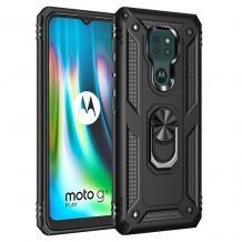 Силиконов гръб TPU Hybrid Magnetic Finger Ring Car Holder за Motorola Moto E7 Plus - черен