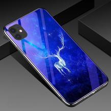 """Луксозен стъклен твърд гръб със силиконов кант за Apple iPhone 11 6.1"""" - бял елен"""