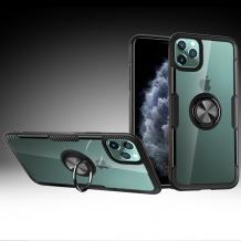 """Луксозен гръб Hybrid с магнитна стойка и силиконов кант за Apple iPhone 11 6.1"""" - прозрачен / черен кант"""