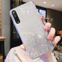 Силиконов калъф / гръб / TPU Brillant Clear Case за Huawei P40 lite 5G - прозрачен / сребрист брокат