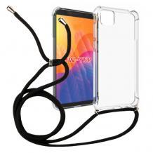 Удароустойчив силиконов калъф / гръб / TPU с връзка за Huawei Y5p - прозрачен / черна връзка