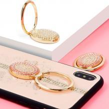 Луксозен гръб Tybomb Diamond с магнитна стойка и силиконов кант за Apple iPhone 7 Plus / iPhone 8 Plus - бежов / Hearts