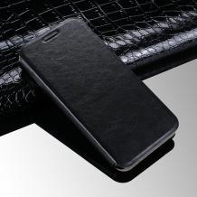Кожен калъф Flip тефтер със стойка за Lenovo Moto C - черен / Flexi