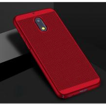 Луксозен твърд гръб за Nokia 5.1 2018 - червен / Grid