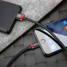 Оригинален USB кабел BASEUS Golden Belt 2A за зареждане и пренос на данни 2в1 1,5m за Apple - черен с червено