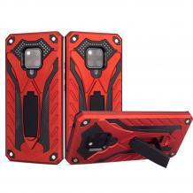 Силиконов гръб TPU Hybrid с твърда част и стойка за Huawei Mate 20 Pro - червен с черно