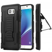 Удароустойчив калъф със стойка от 2 части за HTC One M8 - черен