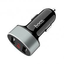 Универсално зарядно за кола HOCO LED Display Dual USB Car Charger / Input: 12-24V / Output: USB1 5V-2.1A /USB2: 5V-2.1A - черно със сиво