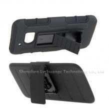 Удароустойчив калъф със стойка от 2 части за HTC One M7 - черен