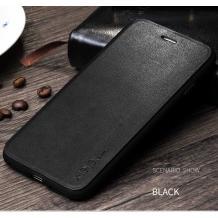 Луксозен кожен калъф Flip тефтер със стойка X-level за Apple iPhone XR - черен