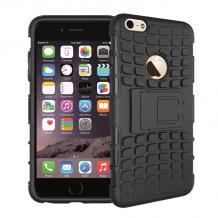 Силиконов гръб TPU Hybrid с твърда част и стойка за Apple iPhone 7 / iPhone 8 - черен