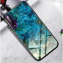 Луксозен стъклен твърд гръб за Samsung Galaxy Note 10 N970 - син / златисти орнаменти