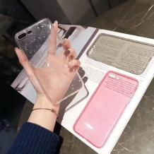 Силиконов калъф / гръб / TPU Bling за Samsung Galaxy S10 - прозрачен / брокат