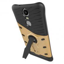 Силиконов гръб TPU Hybrid Armor с твърда част и стойка за Lenvo Vibe K5 Note A7020 - черен / златист