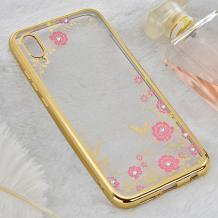 Луксозен силиконов калъф / гръб / TPU с камъни за Samsung Galaxy A50 - прозрачен / розови цветя / Gold кант
