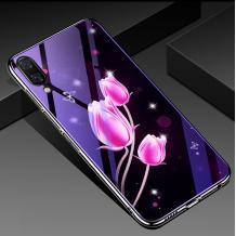 Луксозен стъклен твърд гръб със силиконов кант за Samsung Galaxy A10/M10 - розови лалета