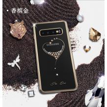 Луксозен твърд гръб KINGXBAR Swarovski Diamond за Samsung Galaxy S10 Plus - прозрачен със златист кант / сърце