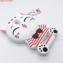 Силиконов калъф / гръб / TPU 3D за Lenovo A2010 - Hello Kitty / бял
