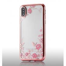 Луксозен силиконов калъф / гръб / TPU с камъни за Huawei Y6 2019 - прозрачен / розови цветя / Rose Gold кант