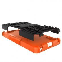 Силиконов гръб TPU Hybrid с твърда част и стойка за Lenovo A6000 / A6010 - черен с оранжево / гуми