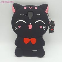 Силиконов калъф / гръб / TPU 3D за Lenovo A536 - Lucky Kitty / черен / 1