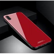 Луксозен стъклен твърд гръб за Samsung Galaxy A10 - червен
