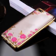 Луксозен силиконов калъф / гръб / TPU с камъни за Xiaomi RedMi 6A - прозрачен / розови цветя / златист кант