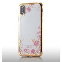 Луксозен силиконов калъф / гръб / TPU с камъни за Huawei Y6 2019 - прозрачен / розови цветя / златист кант