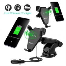 Универсална стойка за кола с безжично зареждане / Wireless Charger Vehicle Dock 2 in 1 - iPhone X / iPhone 8 / iPhone 8 plus / Samsung S8 / S8 plus / S7 / S7 edge /S6 Edge plus