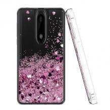 Луксозен твърд гръб 3D Water Case за Xiaomi Mi 9T - прозрачен / течен гръб с розов брокат