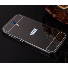 Луксозен алуминиев бъмпер с твърд гръб за HTC Desire 620 - тъмно сив / огледален