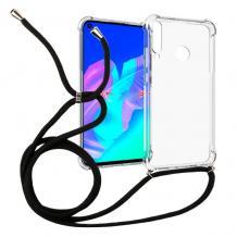 Удароустойчив силиконов калъф / гръб / TPU с връзка за Huawei Y6p - прозрачен / черна връзка