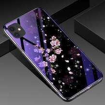 """Луксозен стъклен твърд гръб със силиконов кант за Apple iPhone 11 6.1"""" - лилави цветя"""